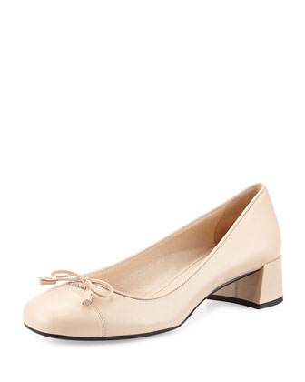 Cap-Toe Block-Heel Bow Pump, Beige