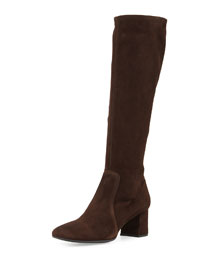 Low-Heel Stretch Suede Knee Boot, Dark Brown