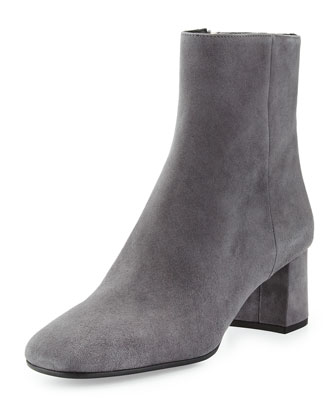 Suede Block-Heel Bootie, Dark Gray