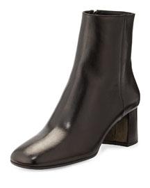 Leather Block-Heel Bootie, Black