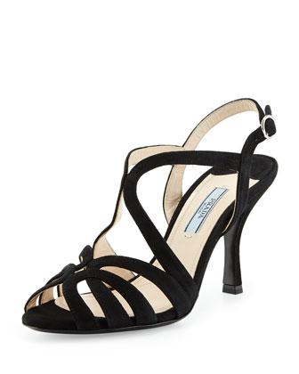 Looped Suede Mid-Heel Sandal, Black