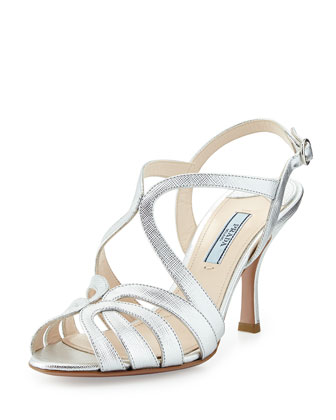 Looped Metallic Saffiano Leather Mid-Heel Sandal, Gray Silver