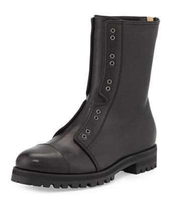 Hatcher Leather Combat Boot, Black