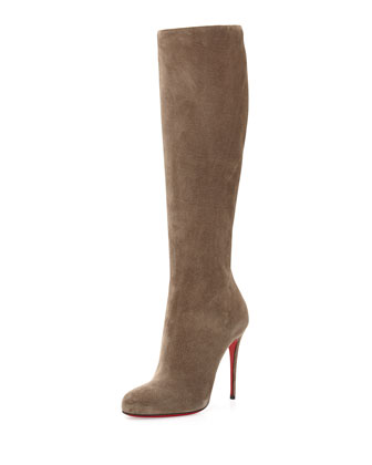 Fifi Botta Suede Red Sole Knee Boot, Gray