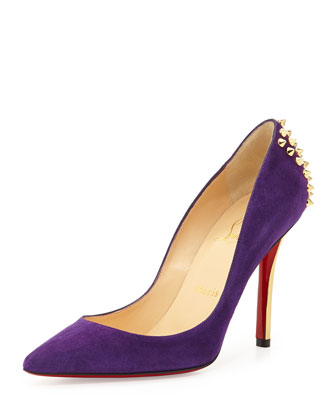 Zappa Spiked Suede Red Sole Pump, Purple/Gold