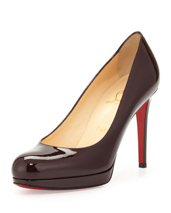 New Simple Patent Red Sole Pump, Burgundy