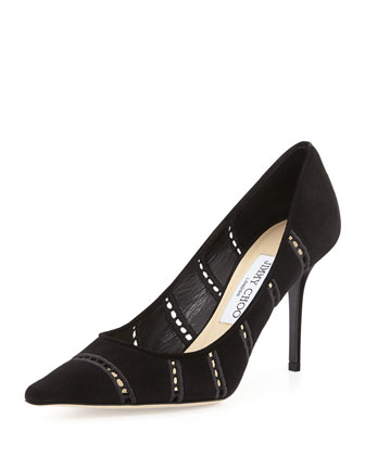 Agnes Perforated Suede Pump