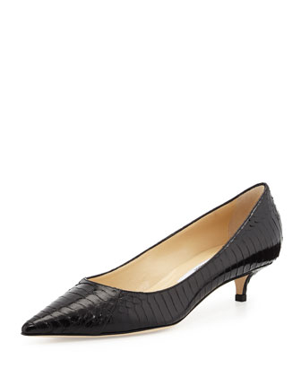 Amelia Snake Kitten-Heel Pump, Black