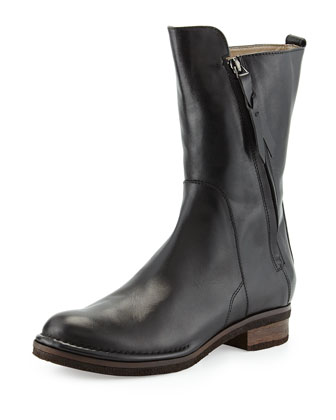 Marina Double-Zip Leather Mid-Calf Boot, Black