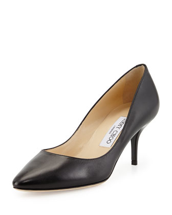 Match Leather Mid-Heel Pump, Black