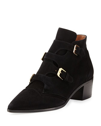 Buckled Suede Pointed-Toe Bootie