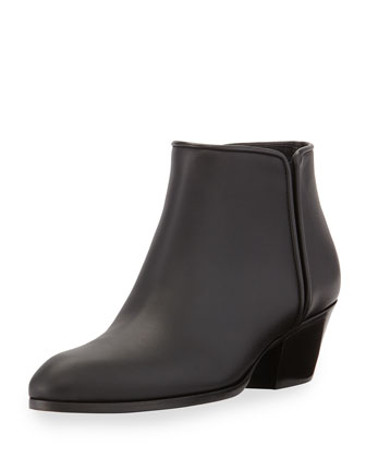 Leather Gored Zip Ankle Boot