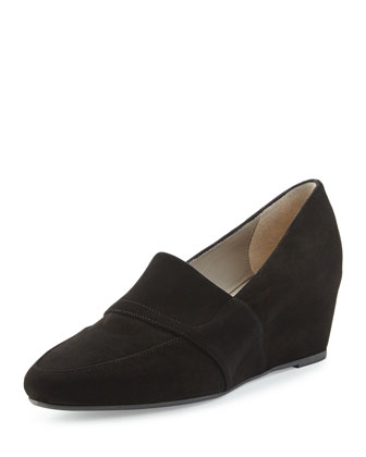 Piston Suede Wedge Loafer, Black