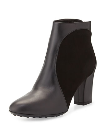 Suede-Inset Leather Ankle Boot, Black