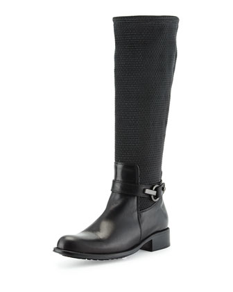 Urope Stretch-Woven Mid-Calf Boot, Black