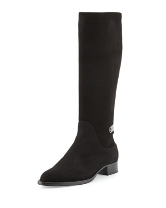 Gutsy Suede Knee Boot, Black