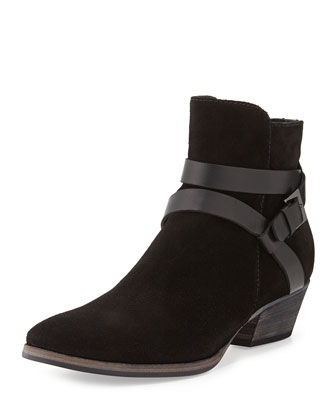 Fleur Suede Ankle Boot with Leather Straps, Black