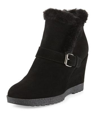 Carlotta Faux-Fur Trimmed Ankle Bootie, Black