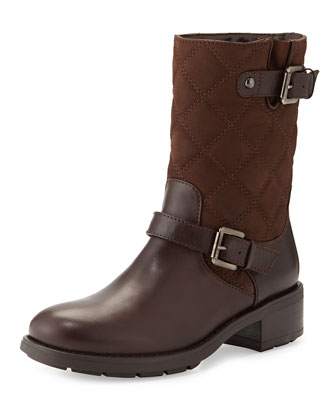 Sherry Quilted Buckled Moto Boot, Dark Brown