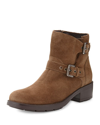 Sterling Suede Double-Buckle Ankle Boot, Taupe