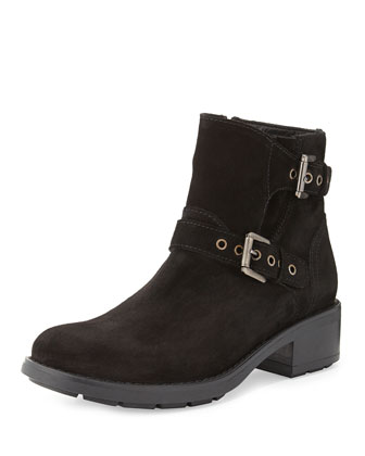 Sterling Suede Double-Buckle Ankle Boot, Black