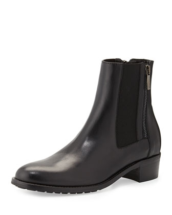 Odessa Leather Ankle Boot, Black