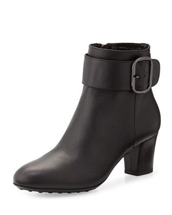 Ziva Leather Ankle Boot, Black