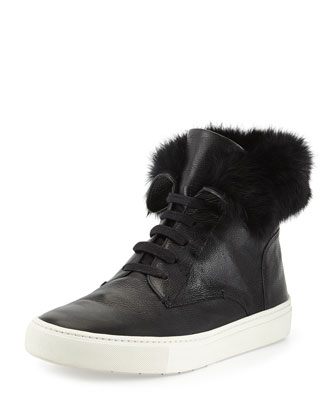 Nyack Leather Fur-Cuff Sneaker, Black