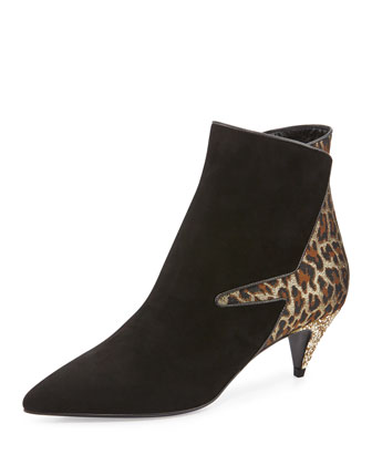 Suede & Leopard Low-Heel Ankle Boot, Black