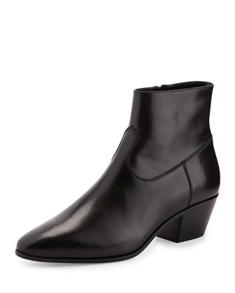 Leather Western Bootie, Black