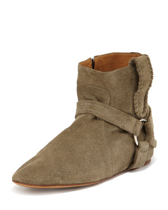 Stitched Suede Harness Bootie, Taupe