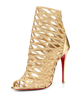 Mille Cinque Metallic Lattice Red Sole Bootie, Gold