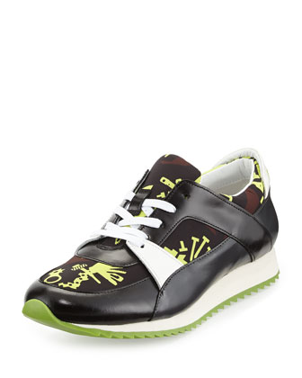 Monster-Print Lace-Up Sneaker, Yellow Pattern