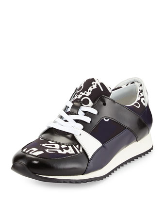 Monster-Print Lace-Up Sneaker, Navy