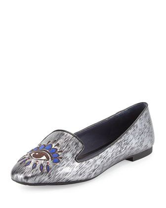 Eye-Embroidered Metallic Smoking Slipper, Black
