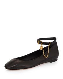 Skull Ankle-Strap Ballet Flat, Black