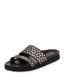 Laser-Cut Leather Double-Band Slide Sandal