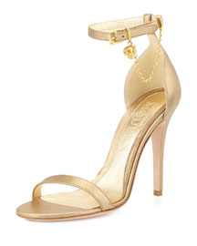 Ankle-Wrap High Heel Sandal with Skull Charm, Gold