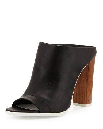 Allison Peep-Toe Leather Mule, Black