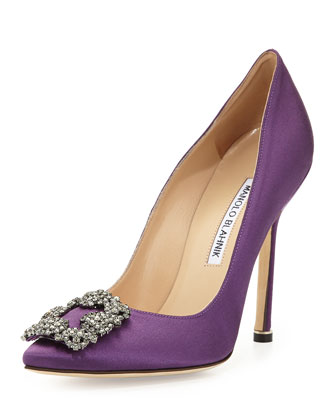 Hangisi Satin Crystal-Toe Pump, Purple