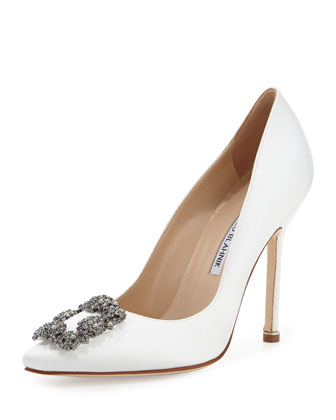 Hangisi Satin Crystal-Toe Pump, White