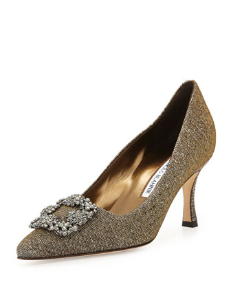 Hangisi Metallic Crystal-Toe Pump, Gold/Silver