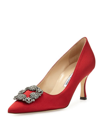 Hangisi Satin Crystal-Toe Pump, Red