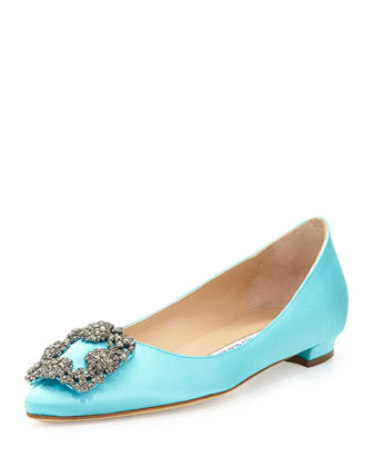 Hangisi Crystal-Buckle Satin Flat, Turquoise
