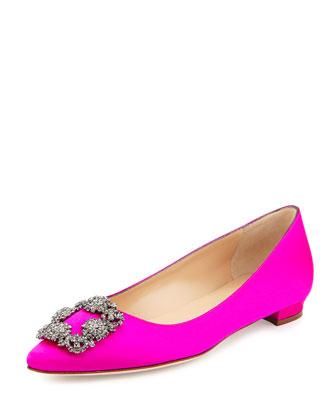 Hangisi Crystal-Buckle Satin Flat, Pink