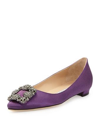 Hangisi Crystal-Buckle Satin Flat, Purple