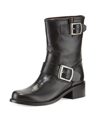 Leather Double-Buckled Moto Boot, Black