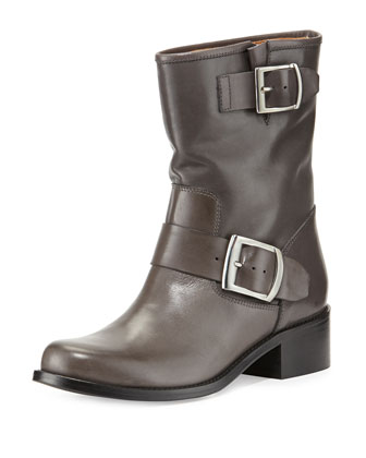 Leather Double-Buckled Moto Boot, Gray