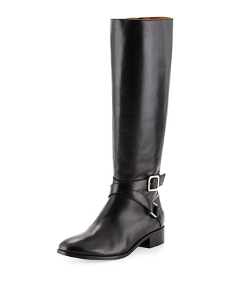 Crisscross Buckled Leather Riding Boot, Black