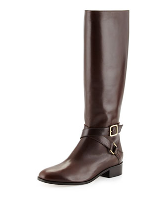 Crisscross Buckled Leather Riding Boot, Dark Brown